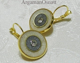 Gold earrings with Swarovski Crystals. Lever back white and gray earrings. Vintage style. Handicraft. Soldering technique
