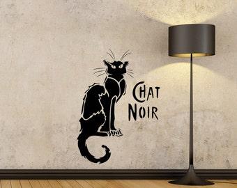 Chat Noir Black Cat reusable STENCIL for home wall interior decor