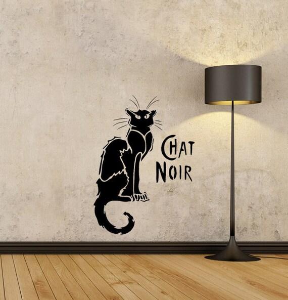 Chat noir black cat pochoir r utilisable pour d coration for Pochoir deco murale