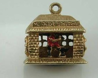 Vintage 3D 9ct Gold Movable Ye Old Smithy Blacksmith Charm