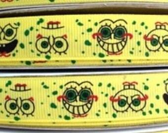 4 Yards of 5/8 Sponge Bob Grosgrain ribbon