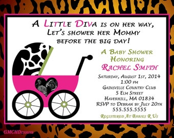 Cute Diva Stroller baby shower invitation with ultrasound photo!