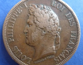 Old French Coin of King Louis-Philippe I Dated 1839. (French Colonies 10 Cent). Excellent Condition.