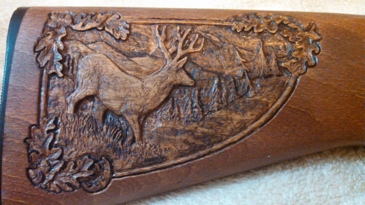 Personalized rifle stock shallow relief carving