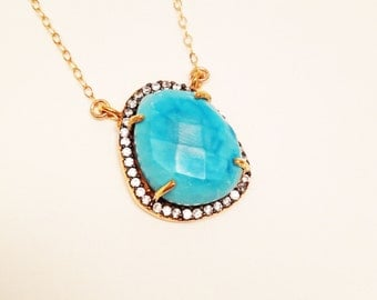 SALE (was 46.00):  Turquoise Pave Pendant Tarnish Resistant Necklace