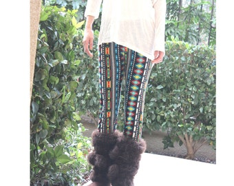 Verticle Diamond Shape Printed Leggings Tribal Festive Fashion Winter Pants - one size fits most