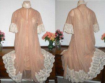 Vintage  Intime Peignoir Negligee Set ~  Mocha Lavish Lace ~ Sheer Chiffon & Nylon ~ VLV ~ Hollywood Glam ~ Lolita ~ Size Petite