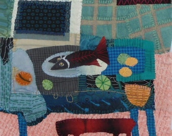 "Quilt art.  Fabric collage.Fiber art wall hanging    Still life with Fish  8""x10"""