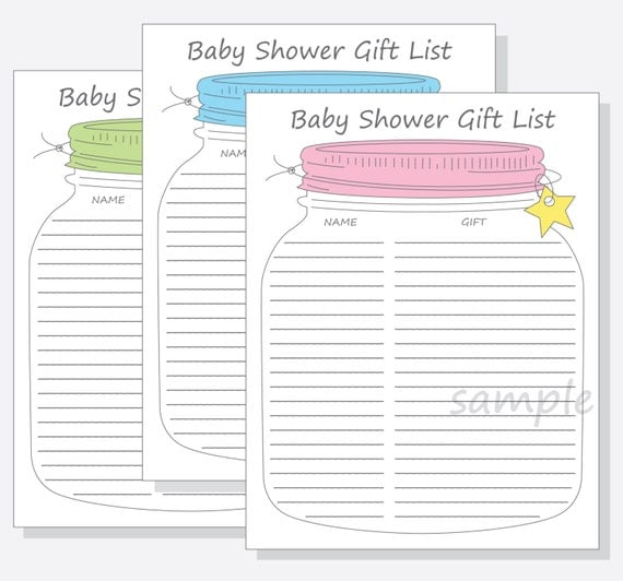 Baby shower guest gift list printable diy mason jar design baby shower guest gift list printable diy mason jar design with blue pink green lid for a girl boy or gender neutral baby shower negle Image collections