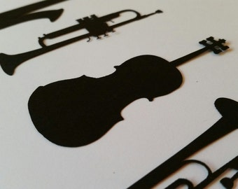 Variety Pack of Instrument Silhouette Die Cut Outs Embellishments