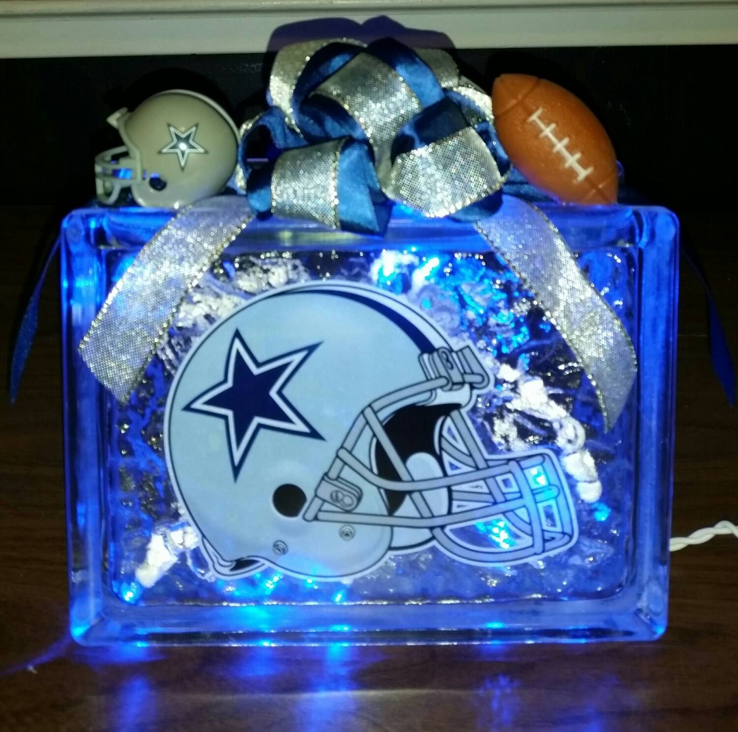 Dallas cowboys helmet decal lighted glass block nightlight and for Clear glass blocks for crafts