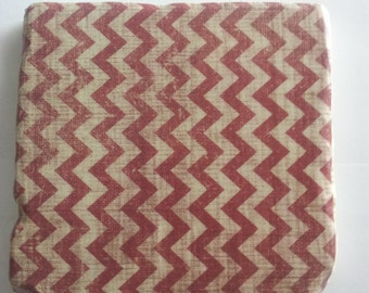 Vintage red chevron tumbled marble coaster; Set of 4