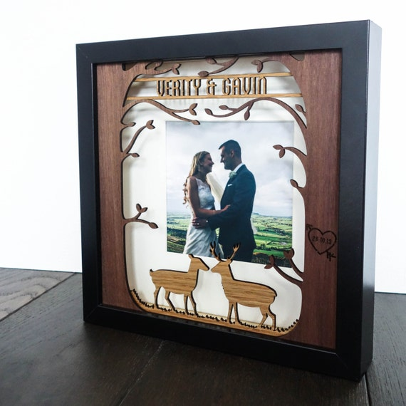 Personalised woodland wedding gift frame - laser cut rustic wood photo frame
