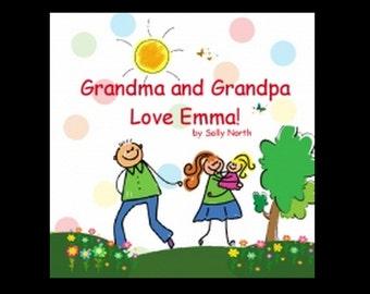 Book, original stories, Personalized book, Children's book, books you can personalize, grandma and grandpa, girl, Emma