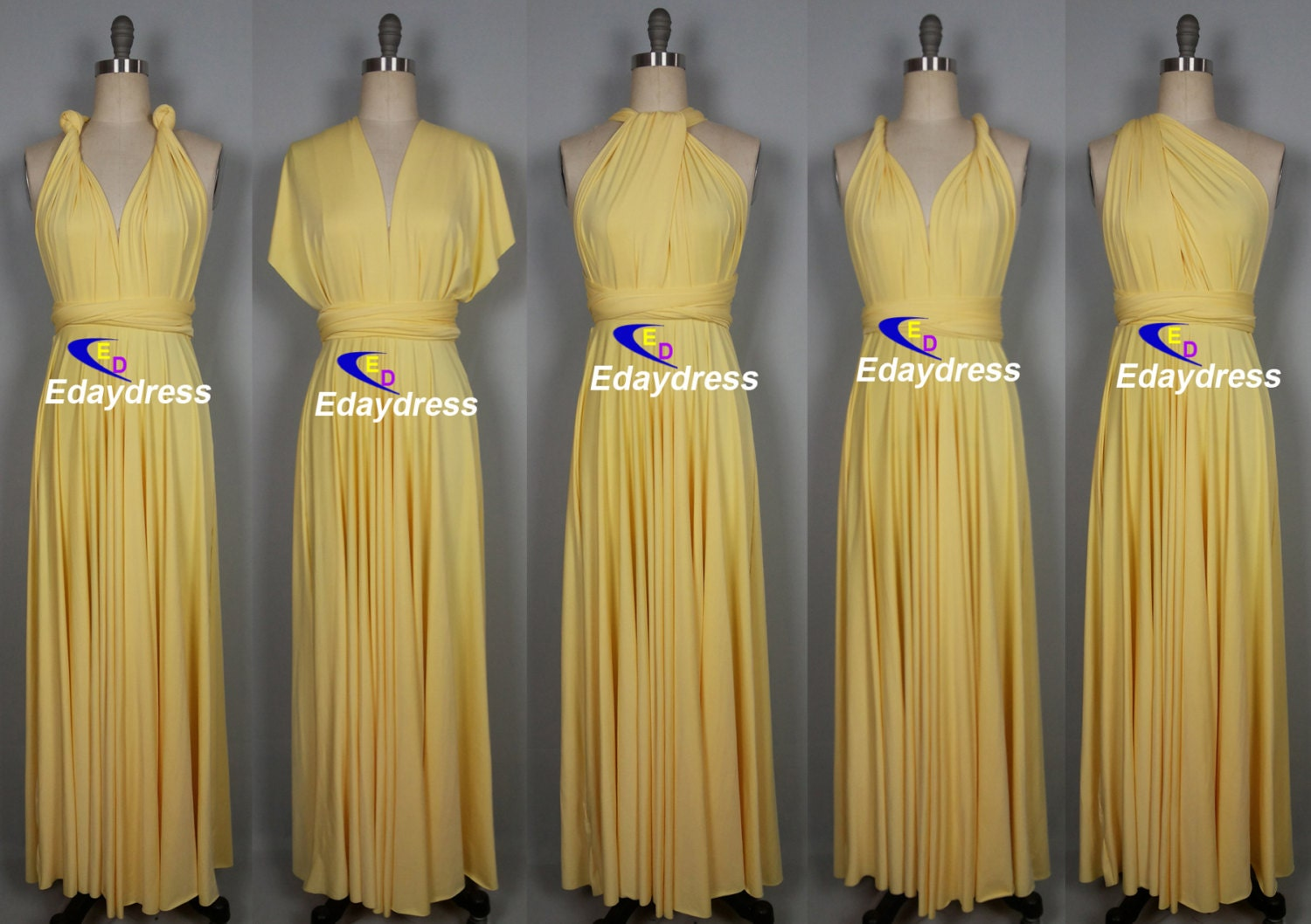Maxi Full Length Bridesmaid Convertible Wrap Dresses Multiway
