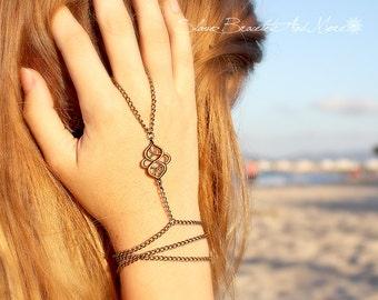 Wrapped Slave Bracelet Hand Chain Piece Swirl Charm Bohemian Boho Chic Hippie Vintage Hipster Hand Body Jewelry Jewellery