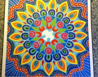 "Print of an original acrylic painting - ""Holy Spirit Mandala""  12"" x 12"""