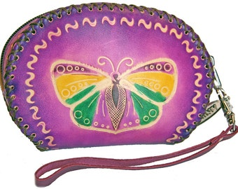 Purple Leather Coin Pouch with Wrist Strap and Embossed Detail - Item #1105