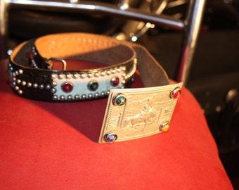 vintage jeweled studded motorcycle belt 50s