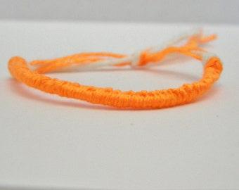 Adjustable Neon Orange Friendship Bracelet