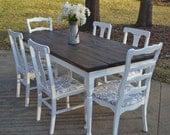 Farmhouse Table w/ Square Skinny Turned Style Legs (Custom Built)