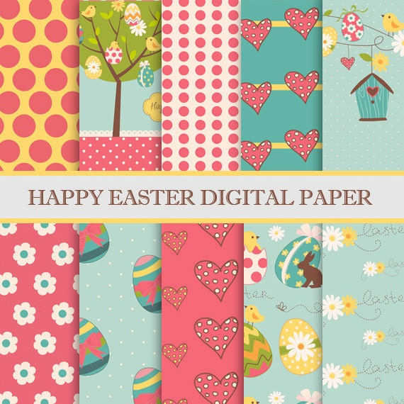 "Easter digital paper: ""HAPPY EASTER "" with Easter Eggs, floral spring, chicken, rabbits, polkadots and more * Printable, Instant Download"