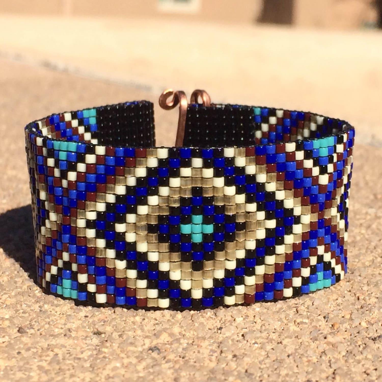 sparkling blues bead loom bracelet bohemian boho by