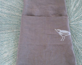 japanese style criss cross full linen apron with screen printed sand piper on large divided pocket made in Maine, U.S.A