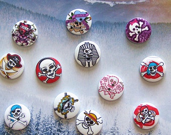 24pcs/lo cartoon punk pirate skull   wood button , scrapbooing  DIY sewing 2cm