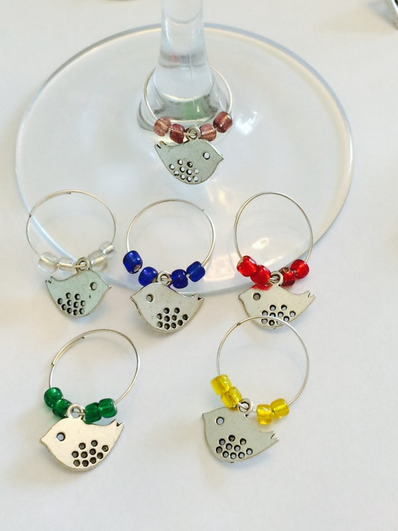 wine or cocktail glass charms set of 6 by lollyshandmadecrafts