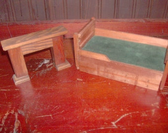 vintage Wooden FOMERZ  wood dollhouse Furniture Bed and Fireplace