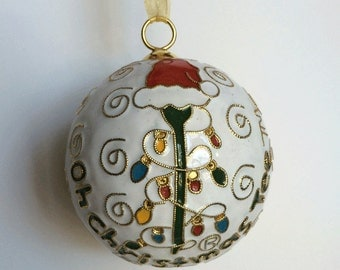 """Golf """"Oh Christmas Tee"""" Cloisonne Ornament 