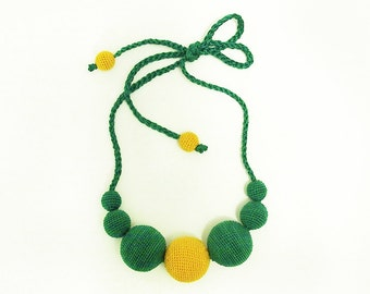 Necklace Dandelion / Green and yellow necklace / Crocheted beaded necklace / Nursing necklace / Boho necklace / Summer necklace