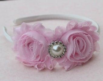 Light pink flower headbands, pink shabby chic flower girl headbands, satin headbands, toddler pink headbands, light pink girls headband