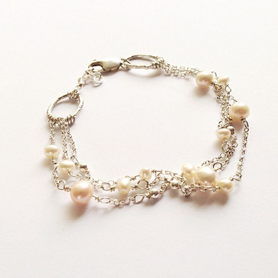 Pearl and Silver Bracelet - Silver Chain Bracelet