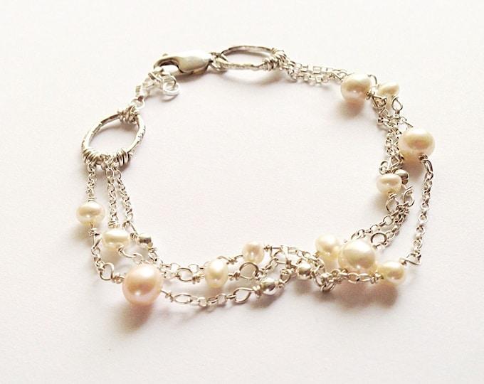 Pearl and Silver Bracelet - Silver Chain Bracelet - Three Strand Bracelet - Freshwater Pearls