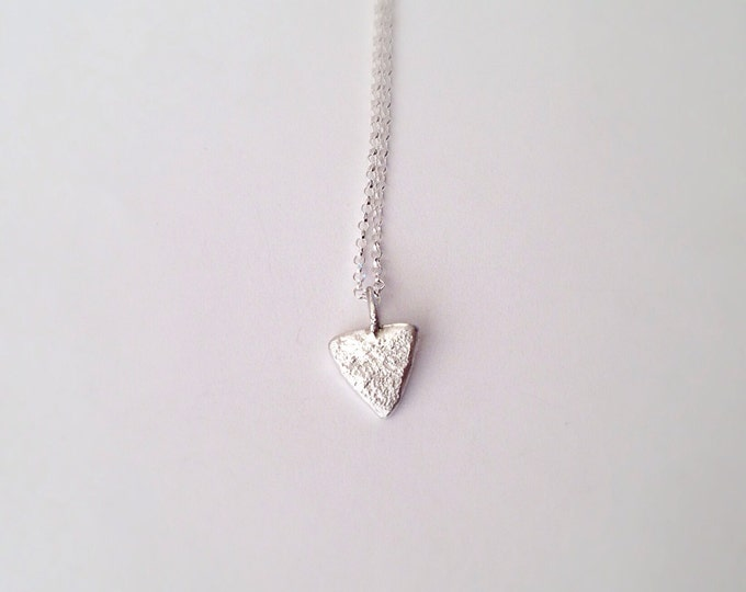 Silver Triangle Necklace - Textured - Recycled Silver Pendant - Eco friendly - Geometric - Minimal Simple