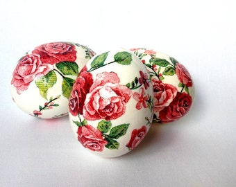 Set of 3 white Rose Hand Decorated Painted Easter Egg with Decoupage, Traditional Slavic Wax Pinhead Chicken Egg, Pysanka