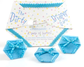 Dirty Diaper Game - Blue Boy Baby Shower Games - Fun Baby Shower Game - Messy Diaper Baby Shower Game - 10 pc. (1 Winner per Pack)