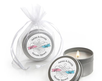 Gender Reveal Candle Tin Baby Shower Party Favors - 12 Count