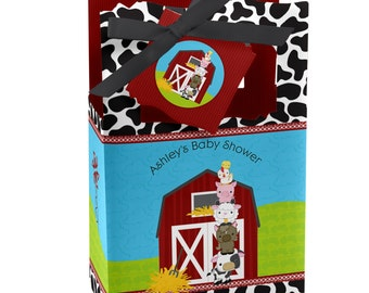 Farm Animals Favor Boxes - Custom Baby Shower and Birthday Party Supplies - Set of 12