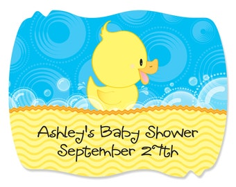 16 Ducky Duck Squiggle Stickers - Custom Do It Yourself Baby Shower and Birthday Party Supplies