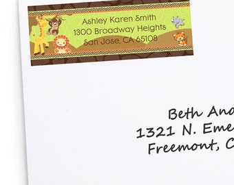 Safari Jungle Address Labels - Personalized Return Address Sticker - 30 Count