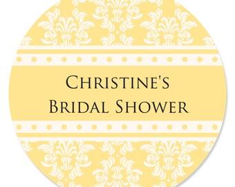 24 Damask Yellow Circle Stickers - Personalized Bridal Shower DIY Craft Supplies
