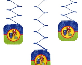 Set of 6 Robots Hanging Decorations - Birthday Party Decorations