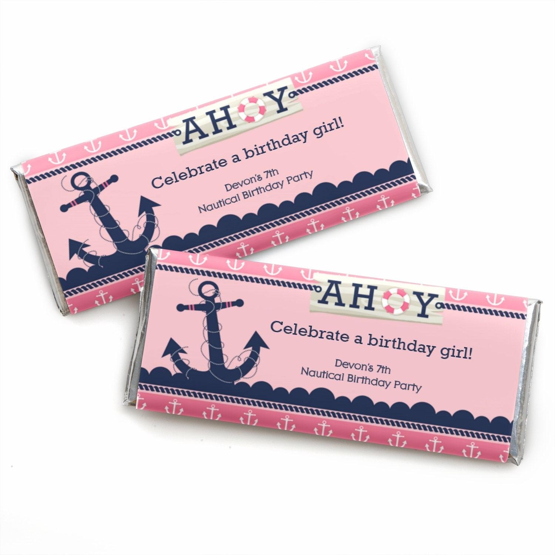 24 Ahoy Nautical Girl Custom Candy Bar Wrappers