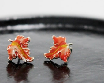 Tiny Autumn, Fall, leaf post earrings. Sterling silver studs. Hand painted orange yellow, hand crafted. Nature inspired design.  USA made.