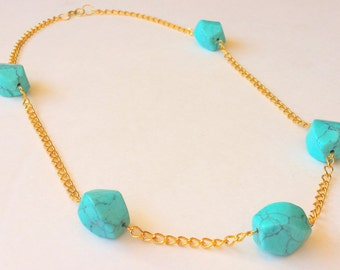 Turquoise stone queen necklace (opera length, turquoise beads )