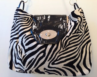 Fabric and leather zebra bag