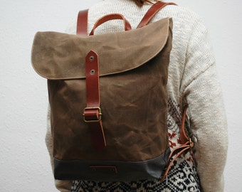 waxed canvas rucksack/backpack, snuff brown, charcoal, with handles, leather  ,hand wax
